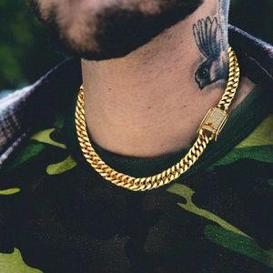 Gold Cuban Link chain Simulated Diamond Clasp
